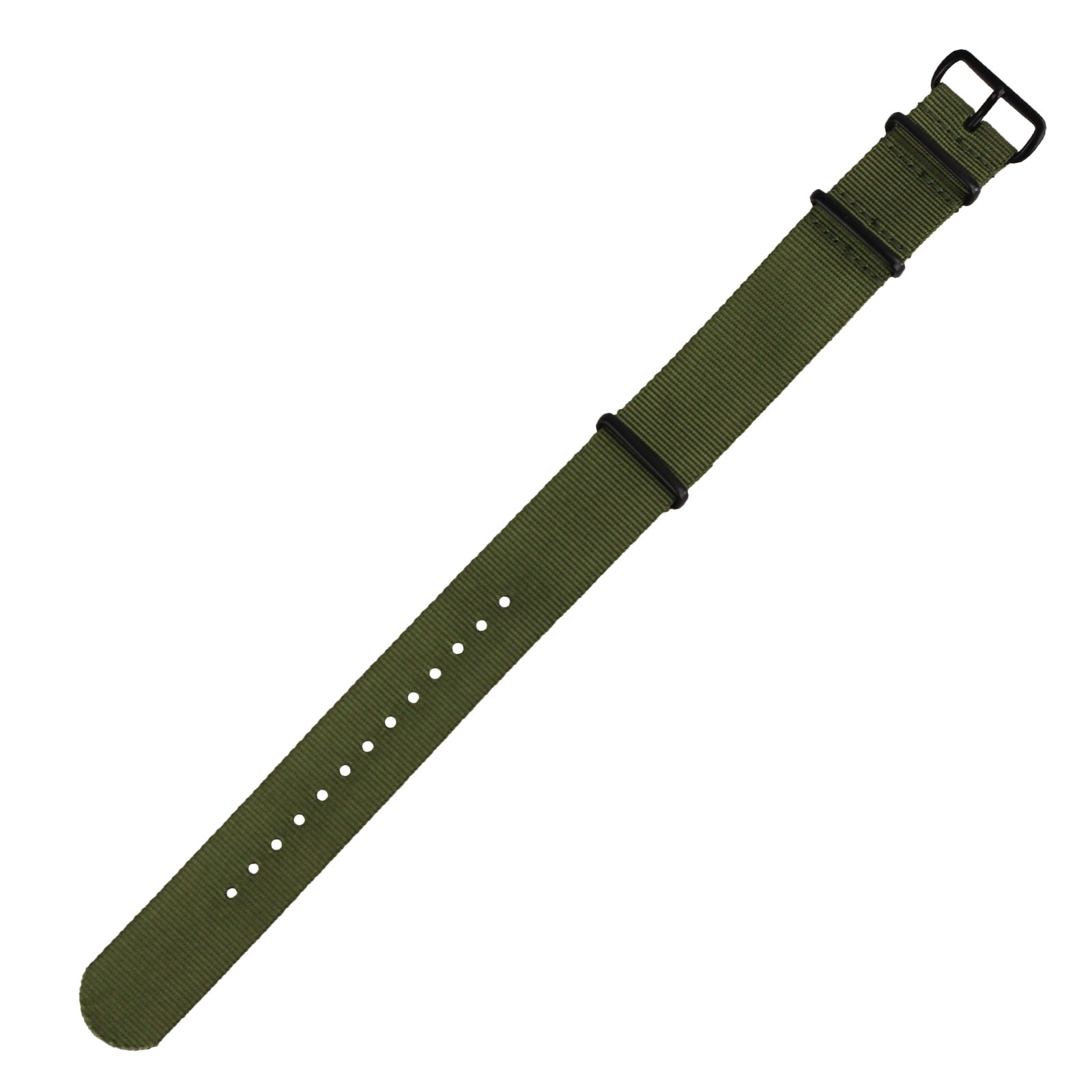 INFANTRY BLACK / GREEN 20mm / 22mm 4 Ring Military Nylon Watch Strap Band 23cm