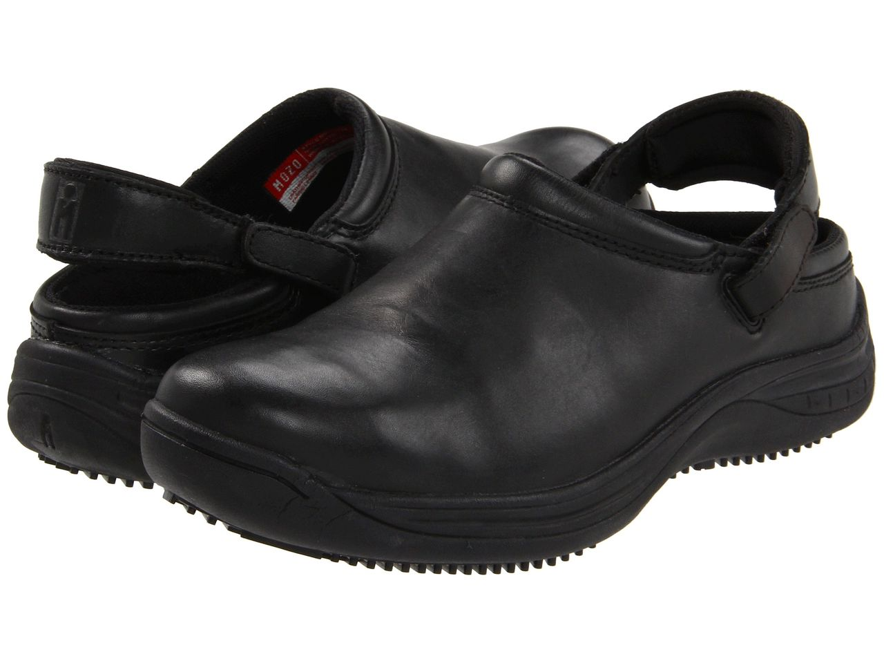new womens mozo vitto solid black leather clog slip