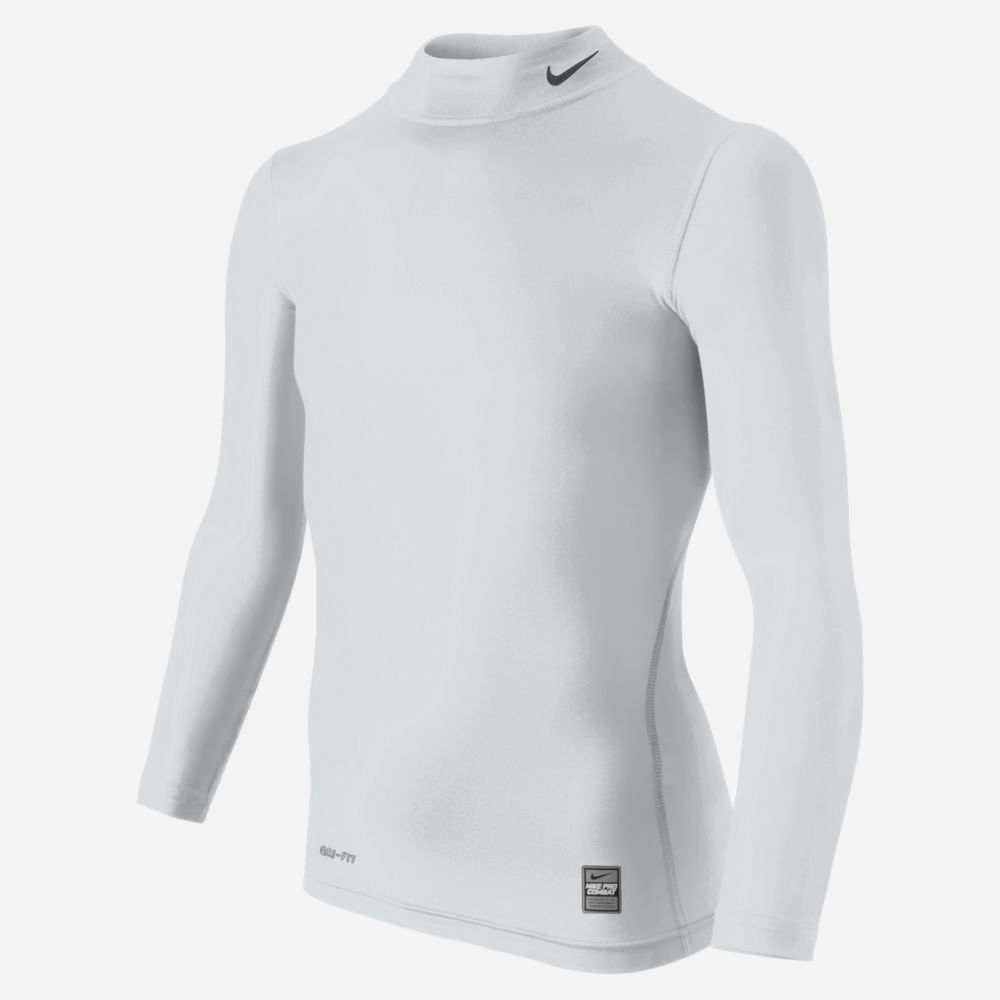New Youth Boys S L Xl Nike Pro Combat White Mock Neck L S