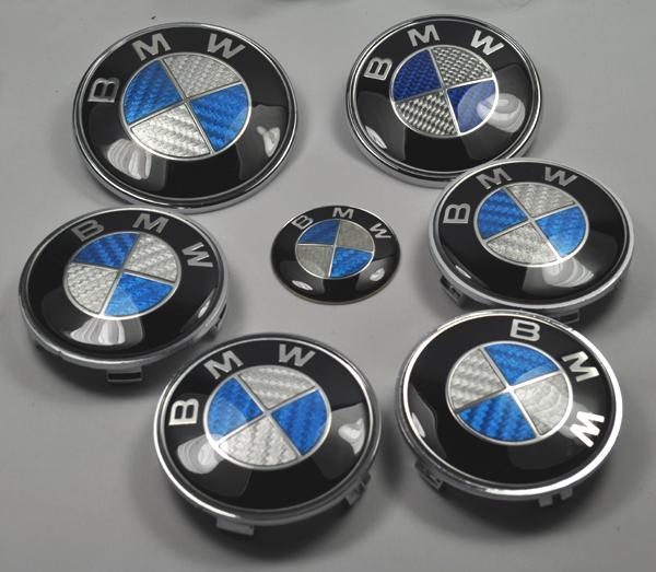 blau bmw 7 teilig emblem carbon set e36 e39 e46 e60 e65 e90 ebay. Black Bedroom Furniture Sets. Home Design Ideas