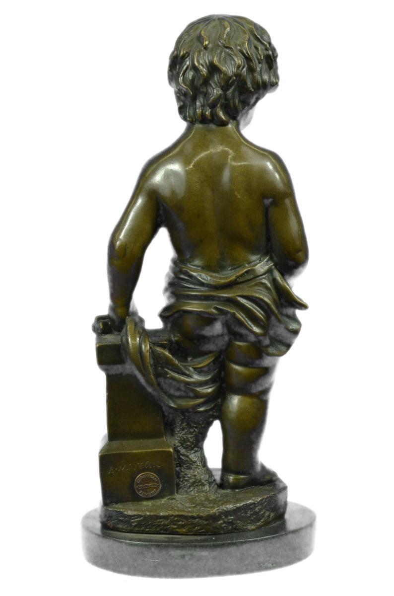 "boy little nudes Real Handmade 13"" Sign Art Nude The Little Boy Holding Ap Bronze Art  Figurine"