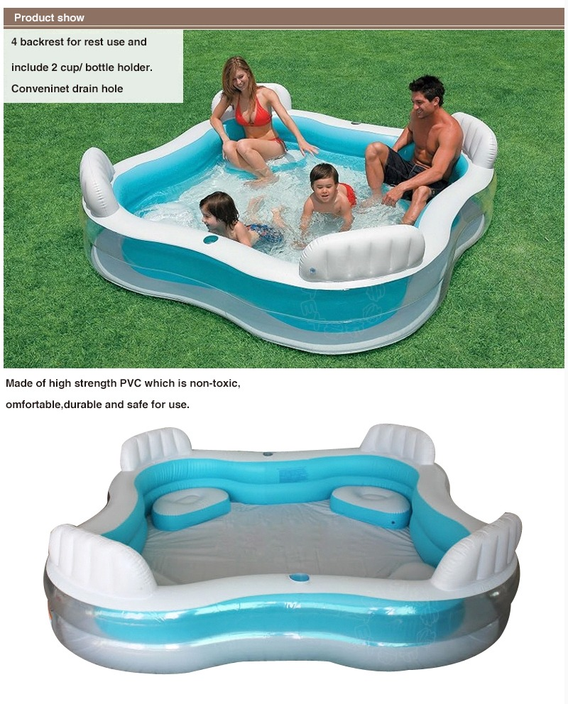 Intex Family Lounge Pool Swim Centre With 4 Seats Drink Holders Brand New Ebay