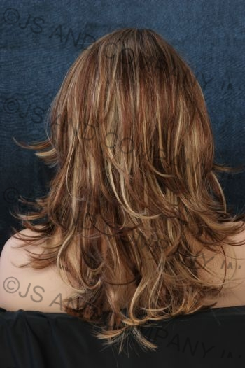 5 Tone Mix Flip Out Layered Wig Blondes Auburn And Browns