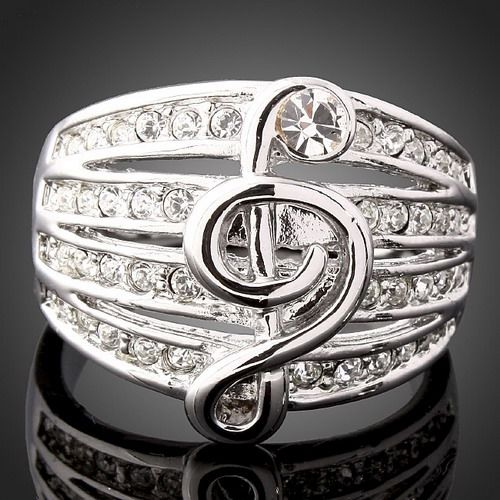 18k-White-Gold-GP-lady-women-Swarovski-Crystal-Music-Note-Engagement-Rings