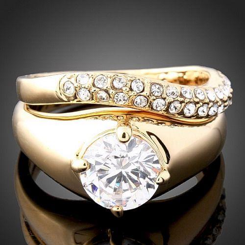 White Swarovski Crystal Yellow Gold GP Finger Ring