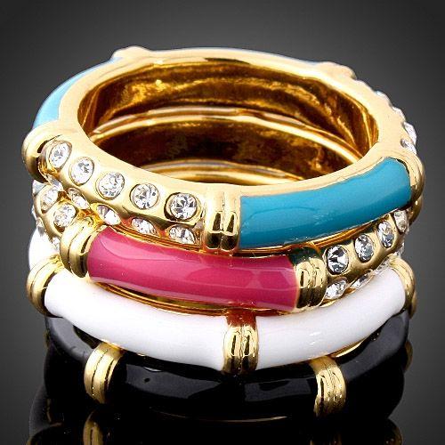 Swarovski-Crystal-Colorful-Enamel-GP-Fashion-Ring-Set