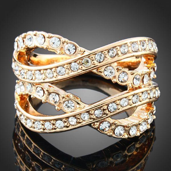 Ladies-Lines-Clear-Rhinestone-Ring-Swarovski-Crystal-18k-Yellow-Gold-Plated