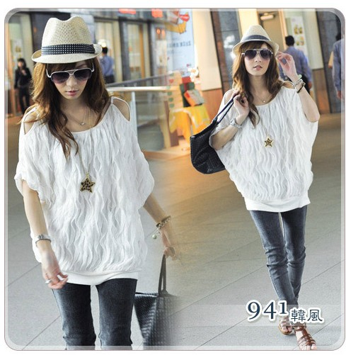 New-Womens-Lady-Off-Shoulder-Batwing-Dolman-Sleeve-Casual-Tops-Long-T-shirt
