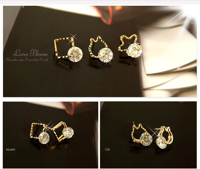 Crystal Silver Gold Swarovski jewellery nikel free titanium post earrings 4236