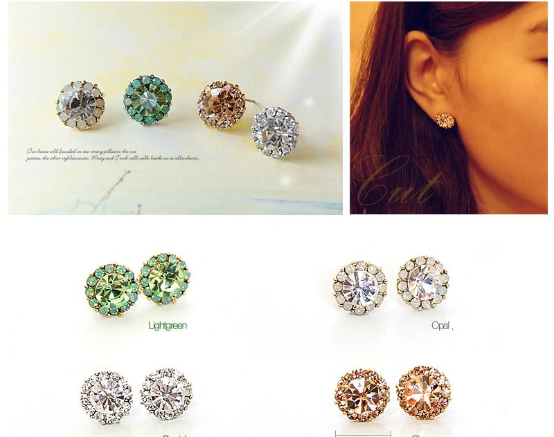 Crystal Silver Gold Swarovski jewellery nikel free titanium post earrings 4050