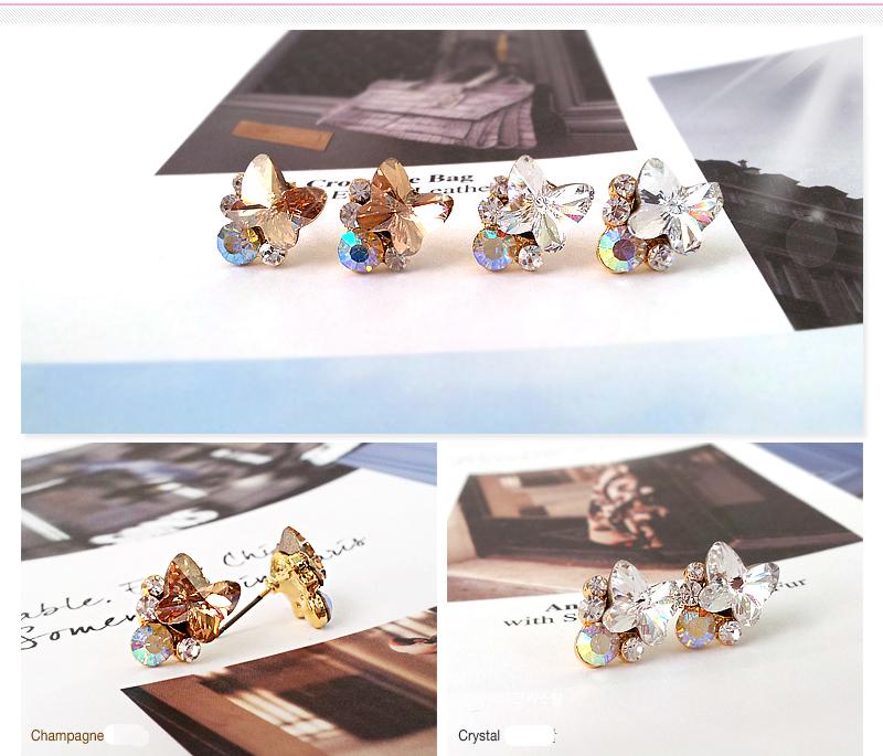 Crystal Silver Gold Swarovski jewellery nikel free titanium post earrings 4240