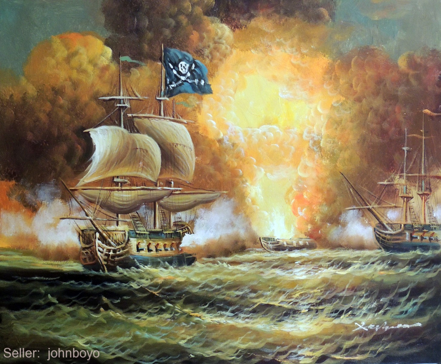 1800's Pirate Ship Cannon Battle Caribbean Sea 20X24 ...