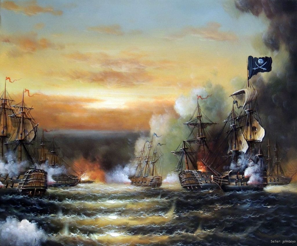 Pirate Ship Cannon Battle Naval Sea Caribbean 20X24 Oil On ...