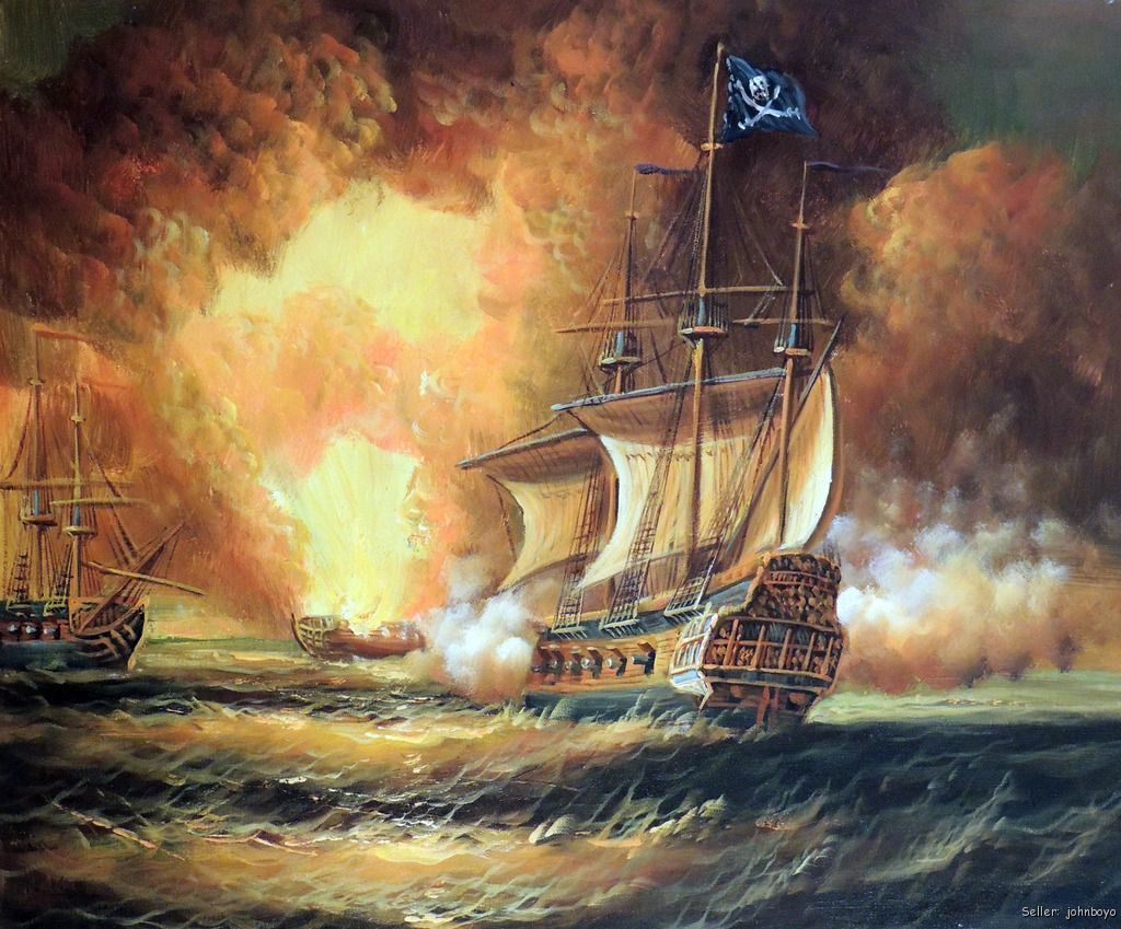 Pirate Ship Cannon Battle 1800s Caribbean Sea 20X24 ...