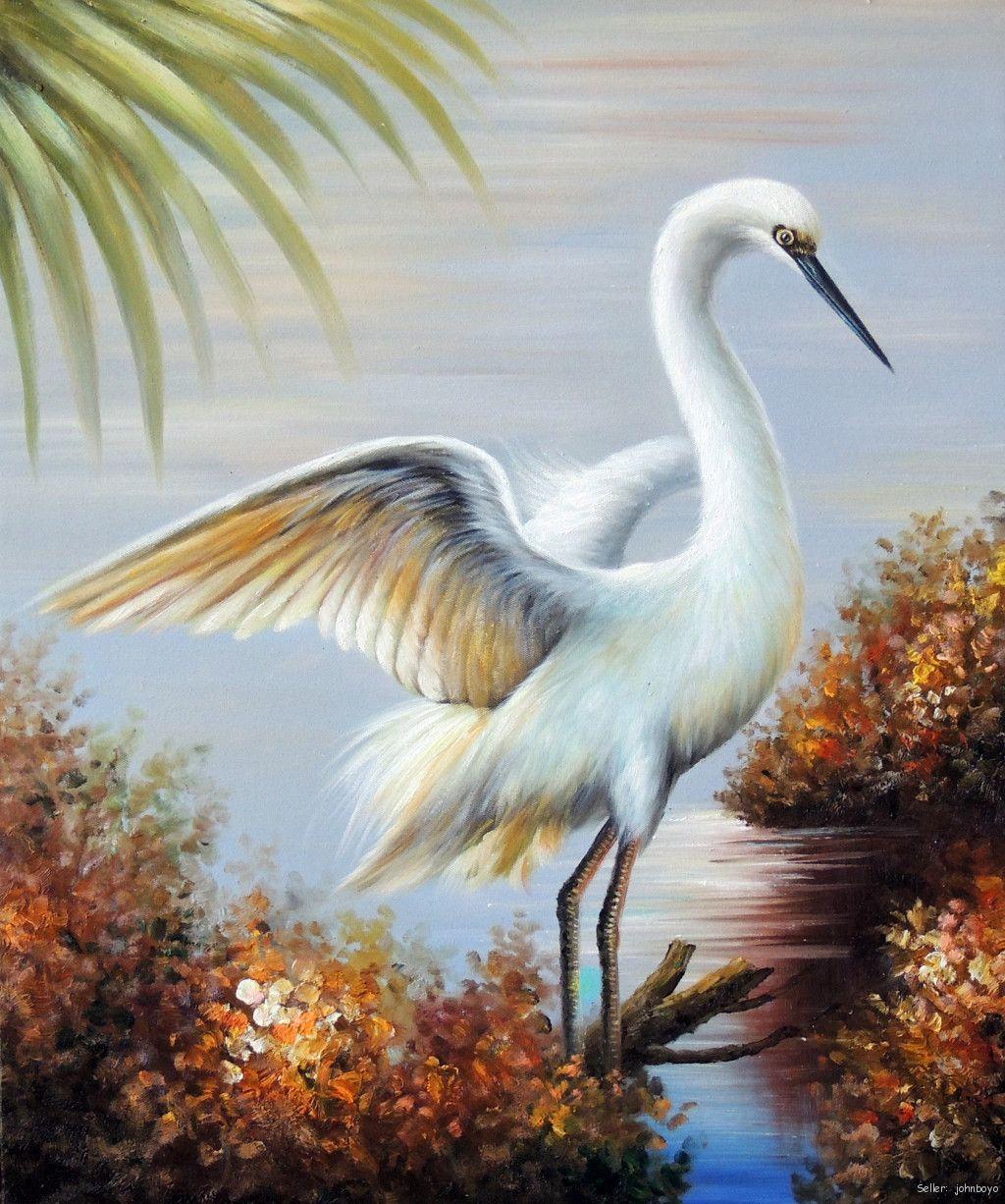 Great white heron egret florida everglades swamp 24x36 oil for White heron paint