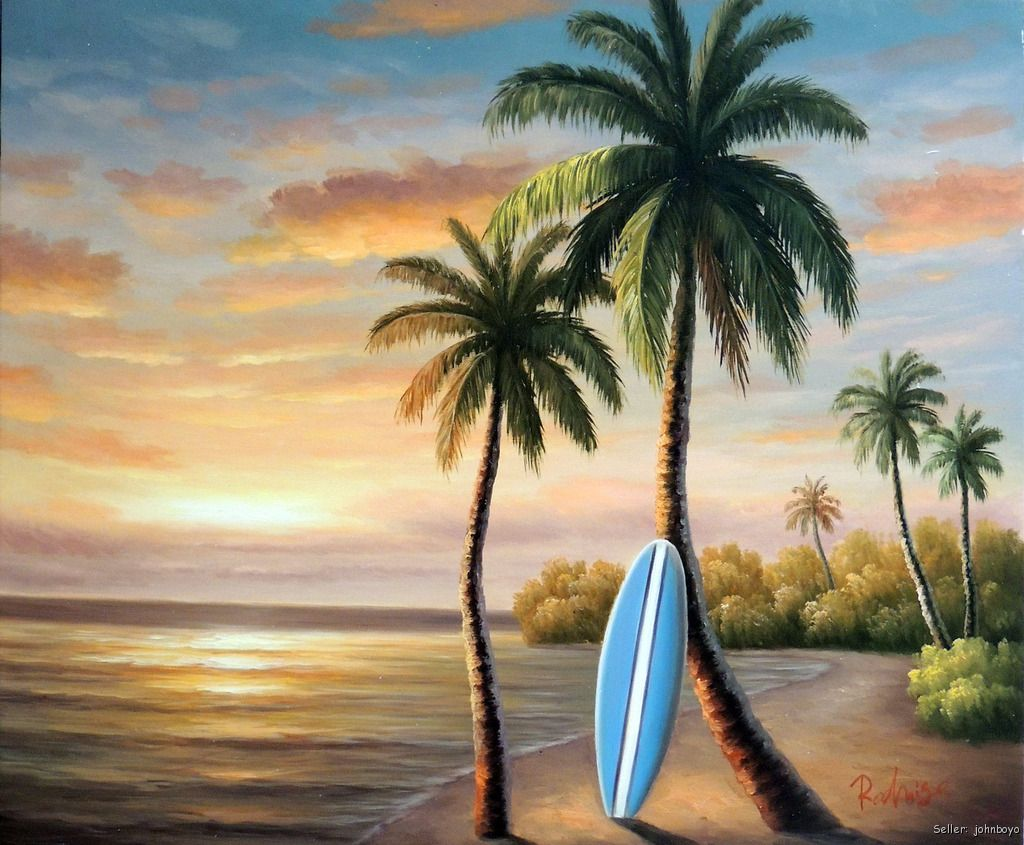 Surfboard beach hawaii sunset palm tree stretched 20x24 for Painting palm trees