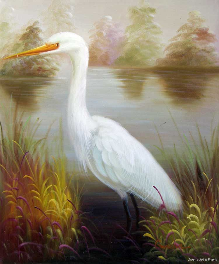 Great white heron egret florida everglades oil painting ebay for White heron paint