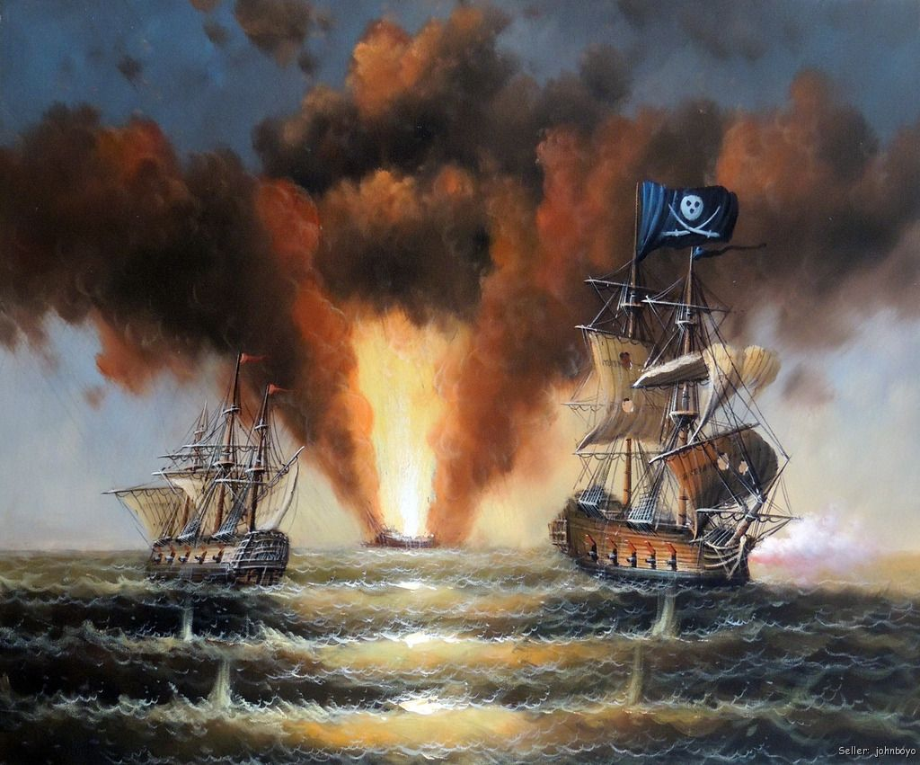 Pirate Ship 1800s Sea Cannon Naval Battle Ocean 20X24 ...