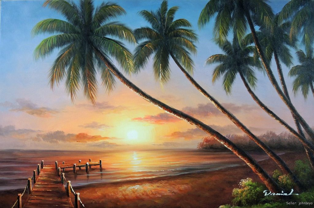 Sunset hawaii beach dock calm surf palm trees stretched for Painting palm trees