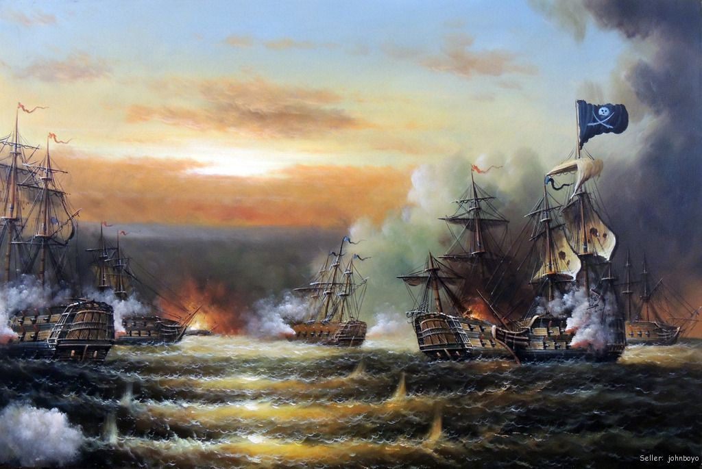 Pirate Ship Sunset Naval Cannon Battle Boat Caribbean Oil ...