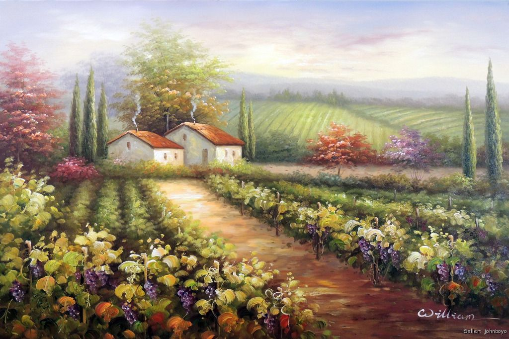 French Wine Purple Grape Vineyard Homes Sunset 24x36 Oil