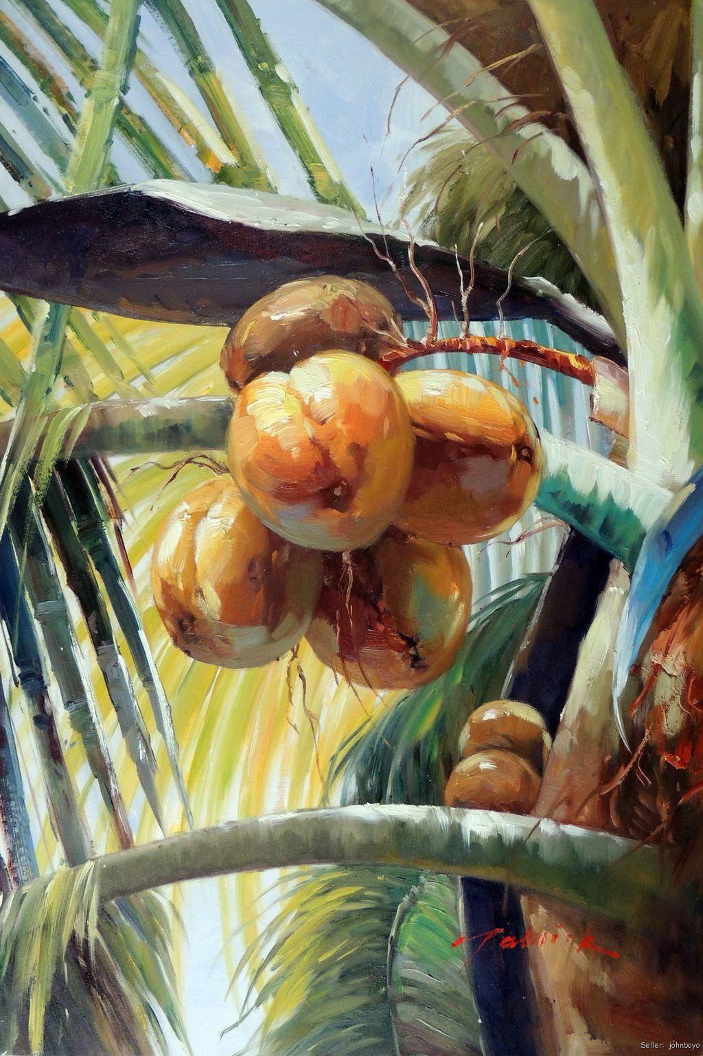 Coconut Palm Tree Tropical Florida Caribbean 24X36 Oil Canvas Painting Art
