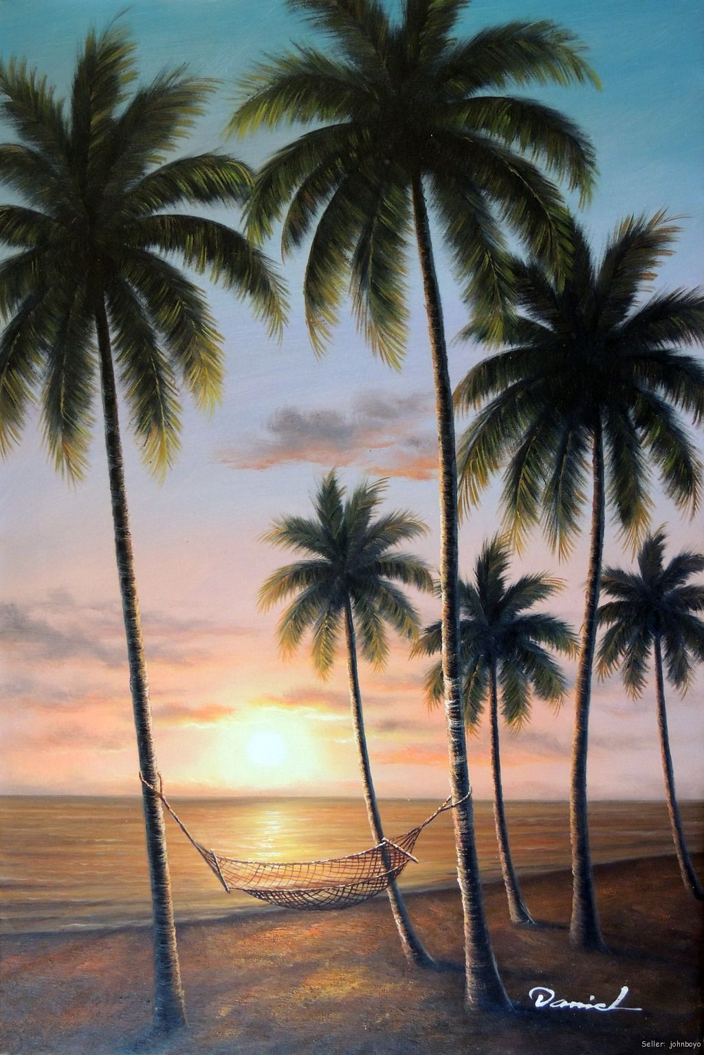 Hawaii tahiti sunset beach hammock palm trees stretched for Painting palm trees