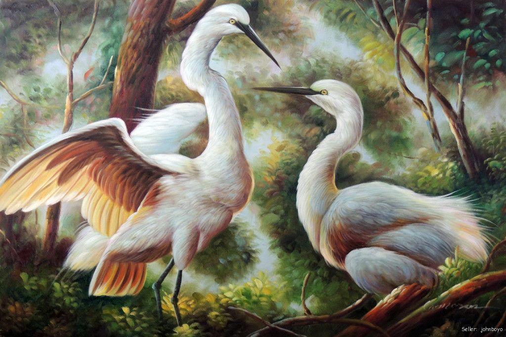 White heron egret pair bird everglades swamp 24x36 oil on for White heron paint