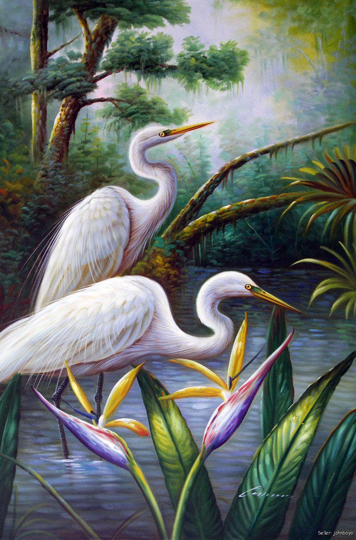 White egret pair heron birds avian wetlands swamp for White heron paint