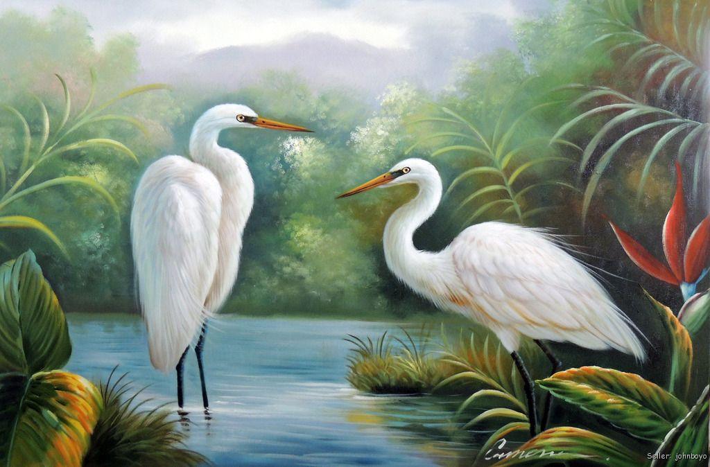 Great white heron egret pair swamp bird of paradise for White heron paint
