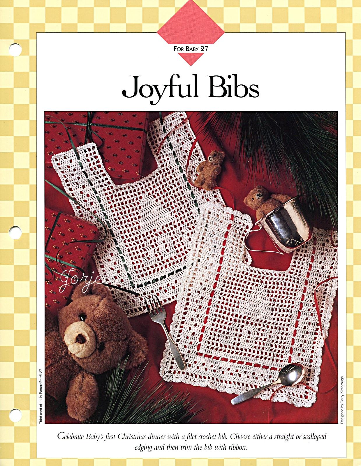 Filet Crochet Baby Bib Patterns : Joyful Bibs Holiday Baby Filet Crochet Patterns eBay