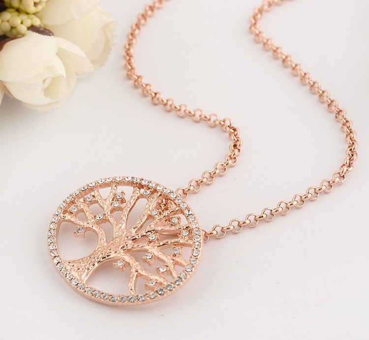18K Rose Gold Filled Tree of Life Inlay Crystal Charm Pendant