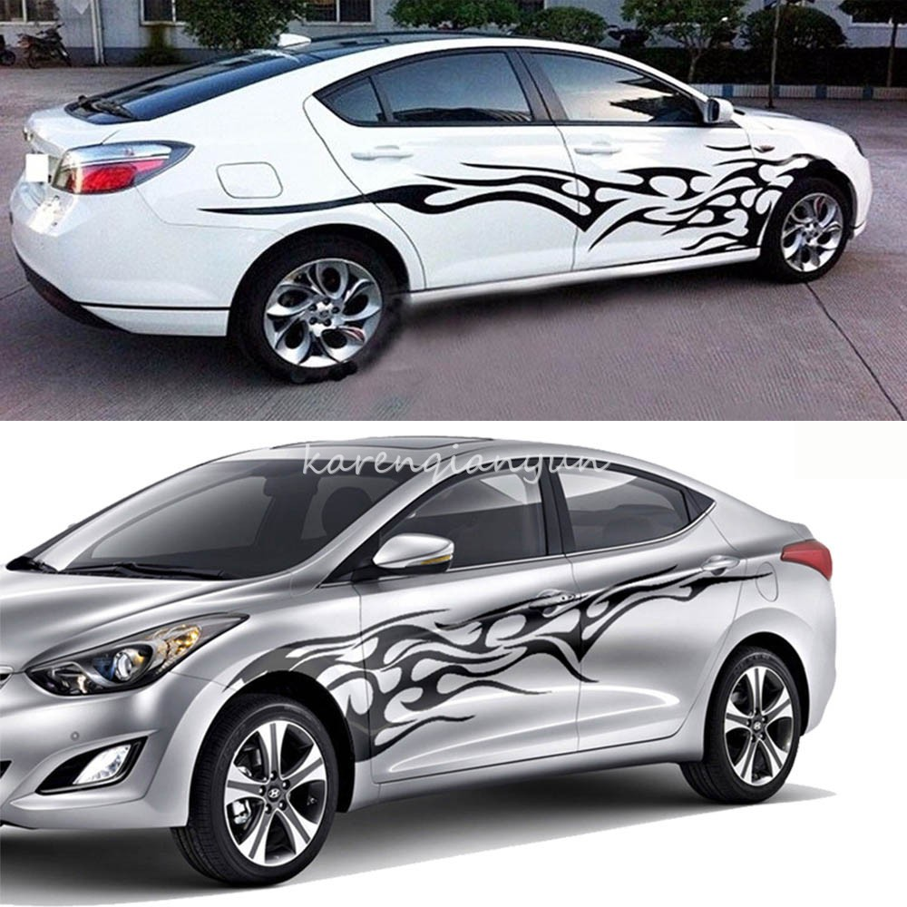 Car sticker design fire - Car Auto Vinyl Car Side Body Graphics Fire Flame Decal Sticker Full Color Flame