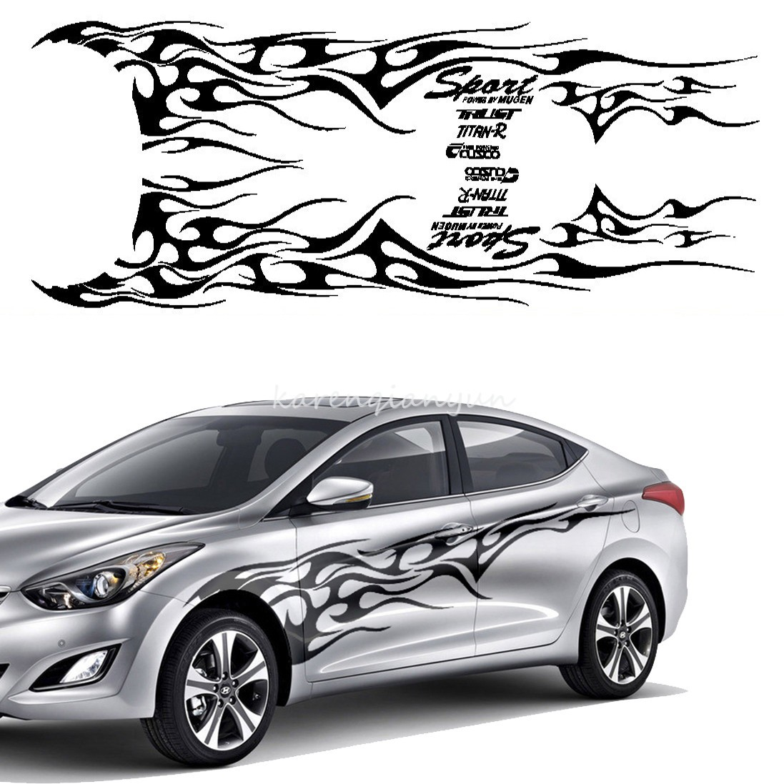 Set Car Truck Flame Totem Graphics Side Decal Vinyl Decal Body - Graphics for the side of a car