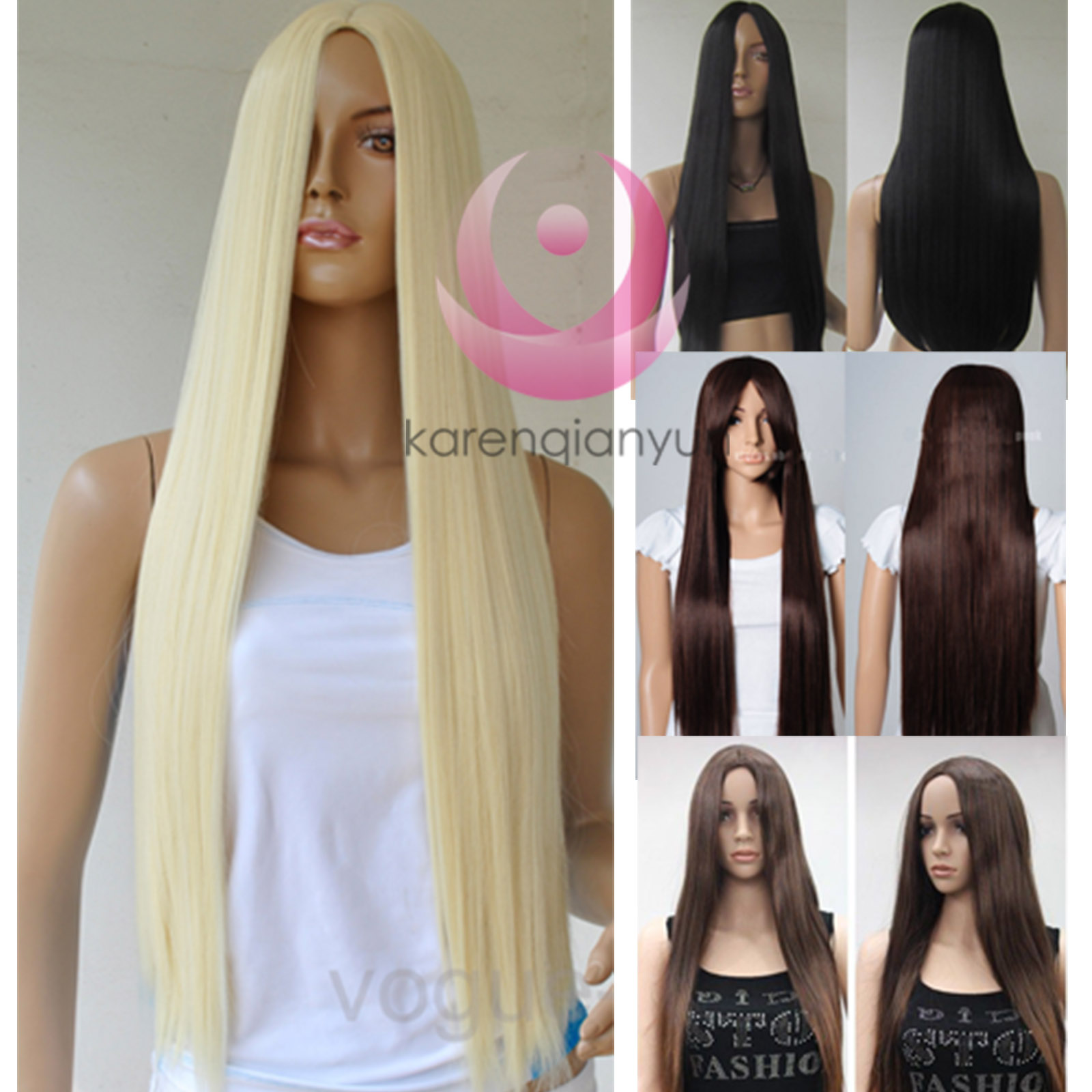 New-28-Full-Long-Cosplay-Party-Hair-Wigs-Heat-Resistant-Straight-Wig-No-Bang