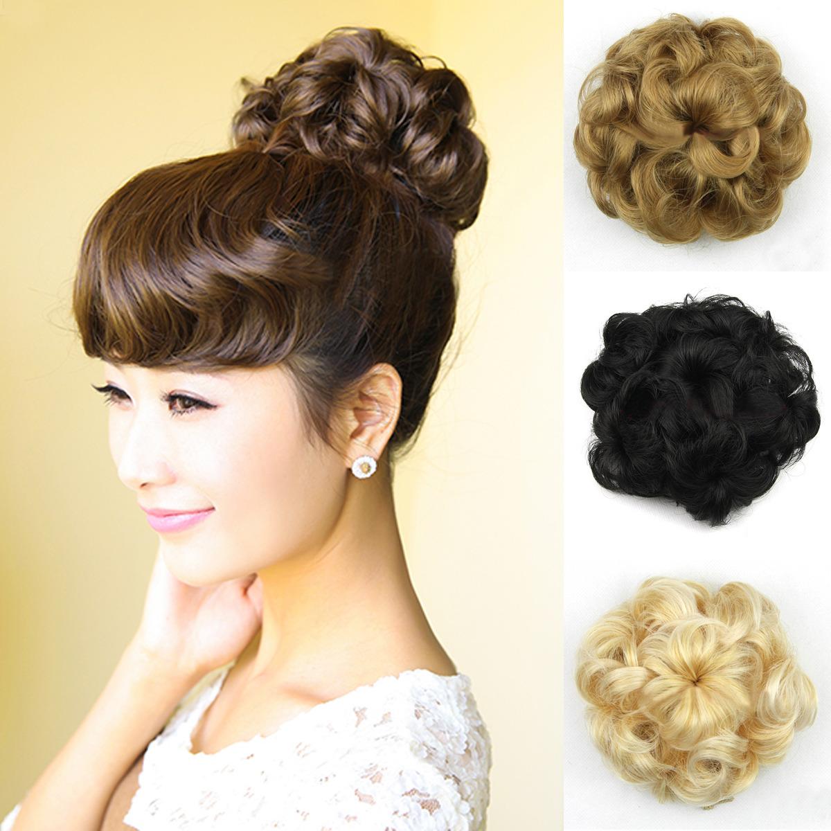 Black Hair Bun Pieces Curly Short Hair Bun Piece