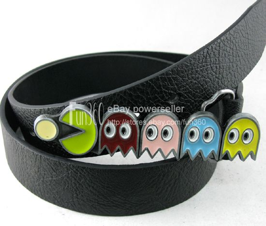Cute-Pac-Man-Ghost-Blinky-Vedio-Game-Cartoon-Childrens-Buckle-Real-Leather-Belt