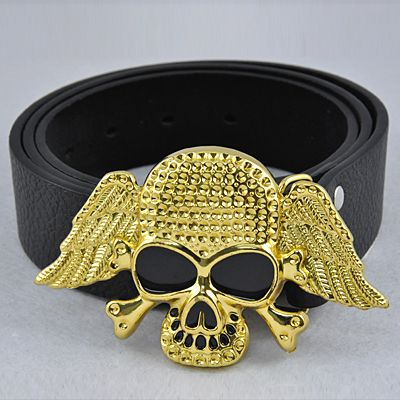 Gothic Mens Black Eye Skull Wing Bone Pirate Cross Golden Buckle