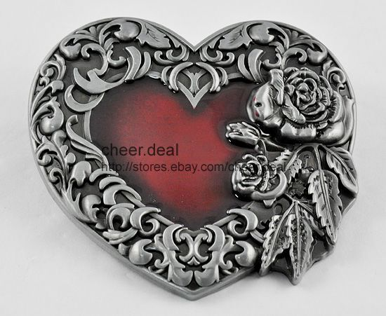 New Candy Red Heart Vintage Leaves Roses Flower Ladies/Mens Buckle