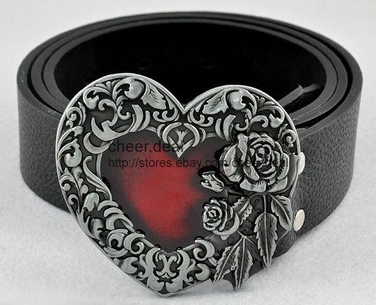 New Candy Red Heart Vintage Leaves Roses Flower Ladies/Mens Buckle