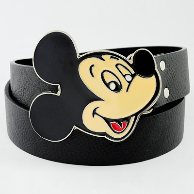 Unisex-Boy-Girl-Mickey-Mouse-Head-Western-Big-Buckle-Genuine-Leather-Belt-33-41-034