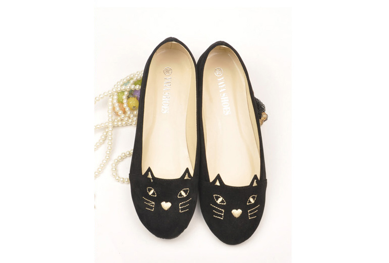 Details about Cute Kitty Cat Face Girls Womens Shoes Loafers Ballerina