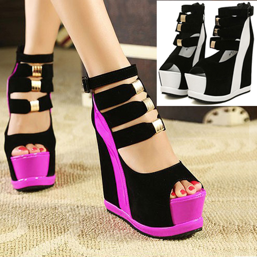 Open Toe Platform Wedges Strappy Sexy High Heel Ankle Ladies Boots ...