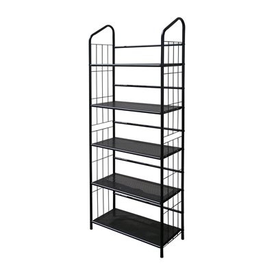 Product Description: - Black Outdoor Patio Plant Stand / Casual Metal Bookcase 5 Tier