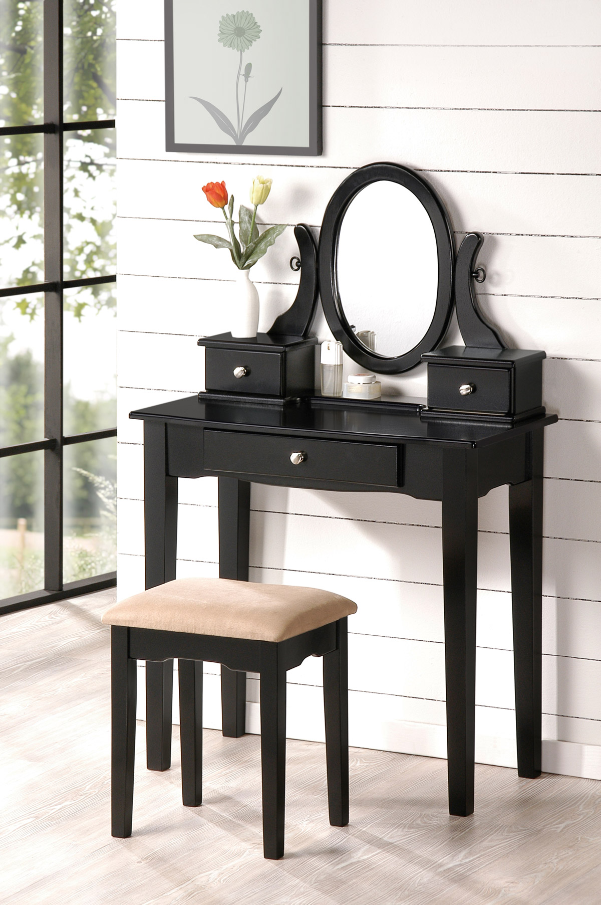 Beautiful bobkona collection vanity makeup table stool for Black makeup table with mirror