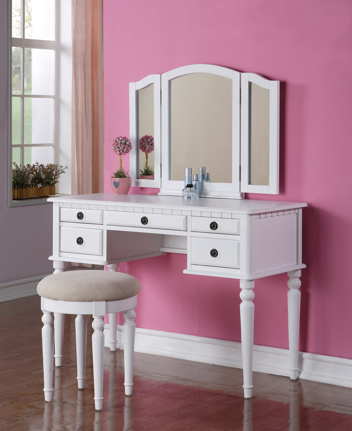 Beautiful 3 pc elegant white finish vanity table mirror stool makeup set ebay - Stool for vanity table ...