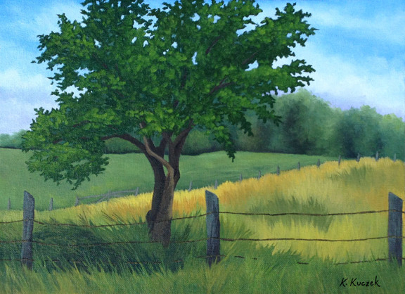 Plein Air painting apple tree and fields
