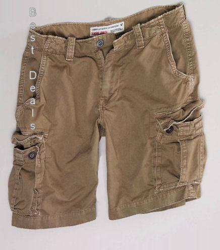 American-Eagle-AE-Mens-Classic-Length-KHAKI-CARGO-Shorts-NEW-FREE-FAST-SHIPPING