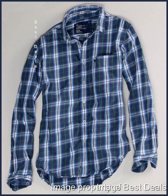 American Eagle Ae Mens Athletic Fit Navy Blue Plaid Shirt