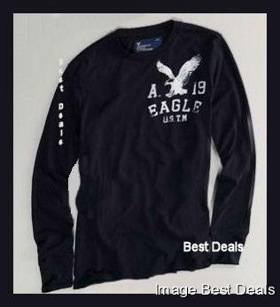 American-Eagle-Mens-AE-Signature-Long-Sleeve-T-Shirt-BLACK-NEW-FREE-FAST-SHIP